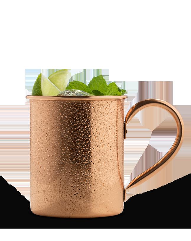 כוס ויסקי נחושת עם קרח ולימון
